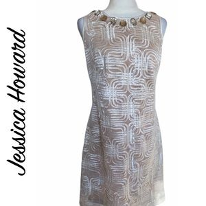 Jessica Howard Lace White and Nude Shift Dress